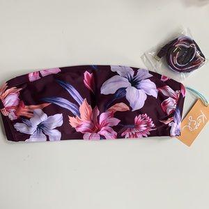 NWT Kona Sol Floral Bandeau Bikini Top size M
